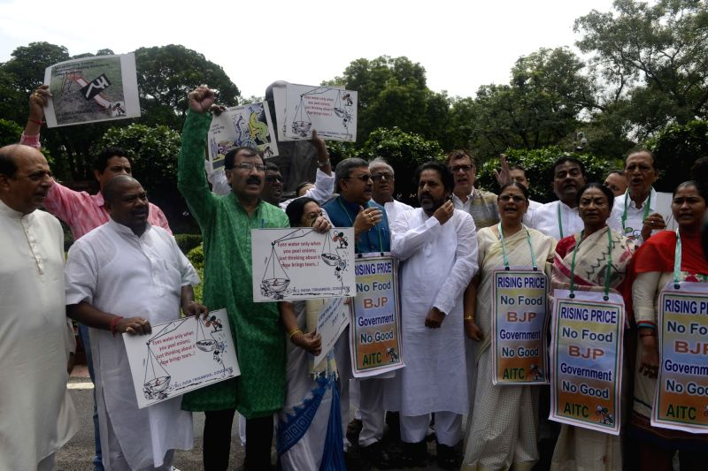 Trinamul Congress (TMC) MPs stage a demonstration in Parliament complex over price rise and other issues in New Delhi, on July 18, 2016.