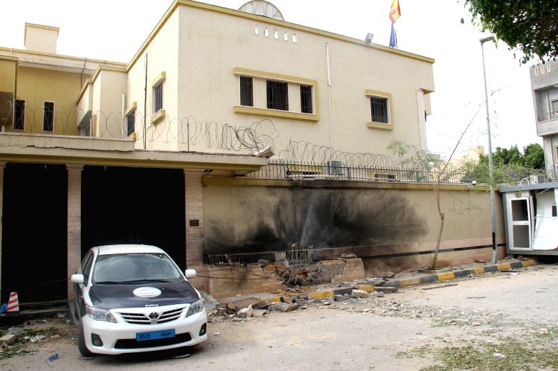 Photo taken on April 21, 2015 shows the explosion site of Spanish embassy in Tripoli, Libya. A bomb exploded near the Spanish embassy in Libya's Tripoli late on ...