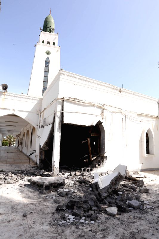 Photo taken on April 23, 2015 shows the explosion site of at the Quds mosque in Tripoli, Libya. The mosque was hit by a bomb attack on Thursday. No casualties were ...