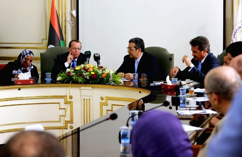 TRIPOLI, April 5, 2016 - UN special envoy and head of UN Support Mission in Libya, Martin Kobler (2nd L), attends a meeting with the representatives of Grand Tripoli municipalities in Tripoli, Libya, ...