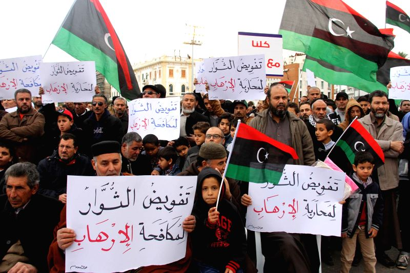 Hundreds of Libya Dawn supporters demonstrate in Martyrs Square in Tripoli, Libya, on Feb. 20, 2015. Libya Dawn supporters gathered here to protest against the car ...