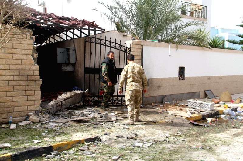 Photo taken on Feb. 22, 2015 shows the damaged residence of Iranian ambassador after an explosion in Tripoli, Libya, Feb. 22, 2015. A device exploded outside of ...