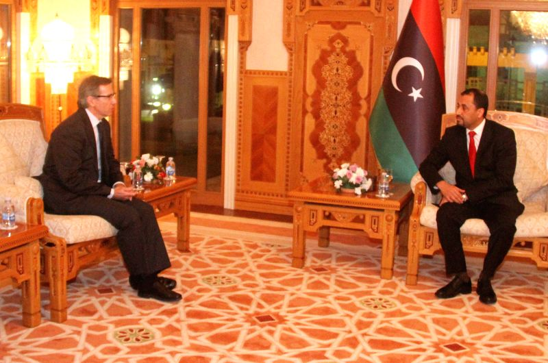 United Nations Special Envoy to Libya Bernardino Leon (L) meets with Second Vice President of Libya's General National Congress Saleh al-Makhozom (R) in Tripoli, ...