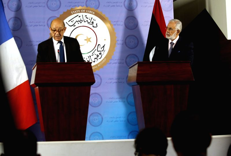 TRIPOLI, July 23, 2018 - French Foreign Minister Jean-Yves Le Drian (L) and Libyan Foreign Minister Mohamed Sayala attend a joint press conference in Tripoli, Libya, on July 23, 2018. French Foreign ... - Jean-Yves L