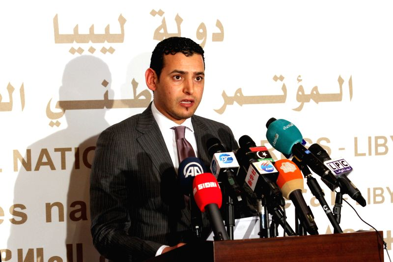 Omar Hemidan, spokesman for Libya's Islamist-backed parliament the General National Congress (GNC),  addresses a press conference in Tripoli, Libya on March 10, ...