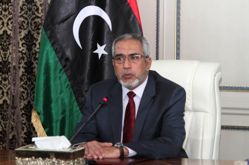 Libya's Islamist-backed Prime Minister Omar al-Hasi addresses a press conference in Tripoli, Libya, on March 14, 2015. Al-Hasi said on Saturday that forces of the ... - Omar
