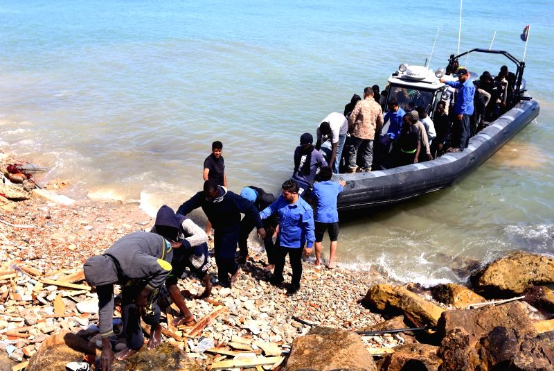 TRIPOLI, May 23, 2017 - Illegal migrants from Africa arrive on shore after being rescued by Libyan coast guards off the coastal town of Tajoura, 15 kilometres east of the capital Tripoli on May 23, ...