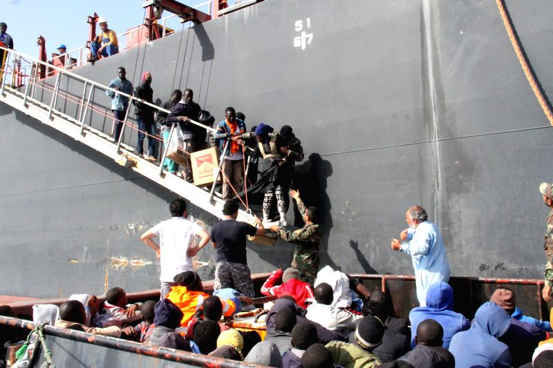 TRIPOLI, May 25, 2016 - Illegal migrants arrive at the Zawiyah port, a naval base some 45 kilometers west of Libyan capital Tripoli, after they were rescued off the western city of Sabratha on May ...