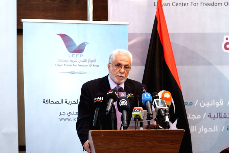 Chairman of Tripoli City Council Sadat Badri addresses a ceremony to mark World Press Freedom Day in Tripoli, Libya, on May 3, 2014.