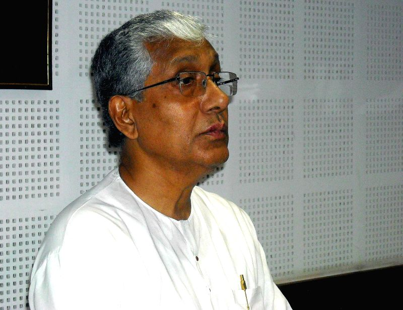 Tripura Chief Minister and CPI-M politburo member Manik Sarkar addresses a press conference regarding party's performance in Agartala on May 16, 2014.