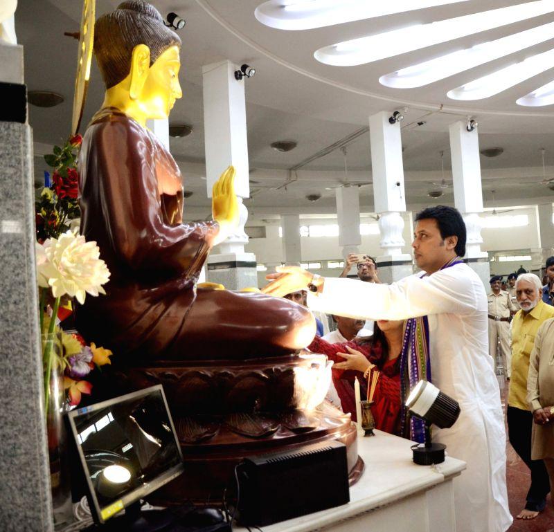 Tripura Chief Minister Biplab Kumar Deb pays to lord Buddha at Deekshabhoomi, in Nagpur, on July 31, 2018. - Biplab Kumar Deb