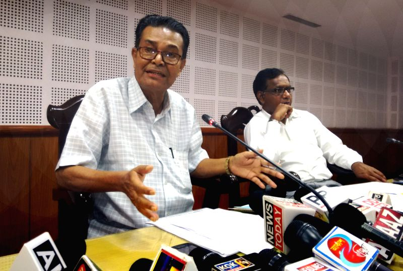 Tripura Finance Minister Bhanulal Saha addresses a press conference to announce higher pay scales and allowances for its 2.45 lakh employees and pensioners in Agaratala on June 13, 2017. - Bhanulal Saha
