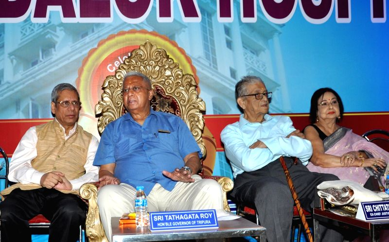 Tripura Governor Tathagata Roy, Ex- Chief Justice Bombay High Court Chittatosh Mookerjea, actress Madhabi Mukherjee and Anandalok Hospitals group founder Deo Kumar Sara during the launch of ... - Madhabi Mukherjee, Tathagata Roy, Deo Kumar Sara and Ashis Kumar