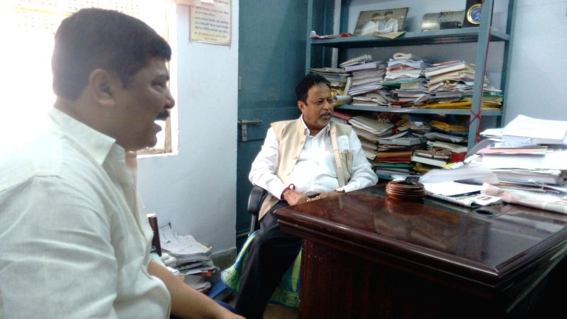 Tripura rebel Congress leader Sudip Roy Barman during a meeting with Trinamool Congress leader Mukul Roy in Agartala, on June 3, 2016. - Sudip Roy Barman and Mukul Roy