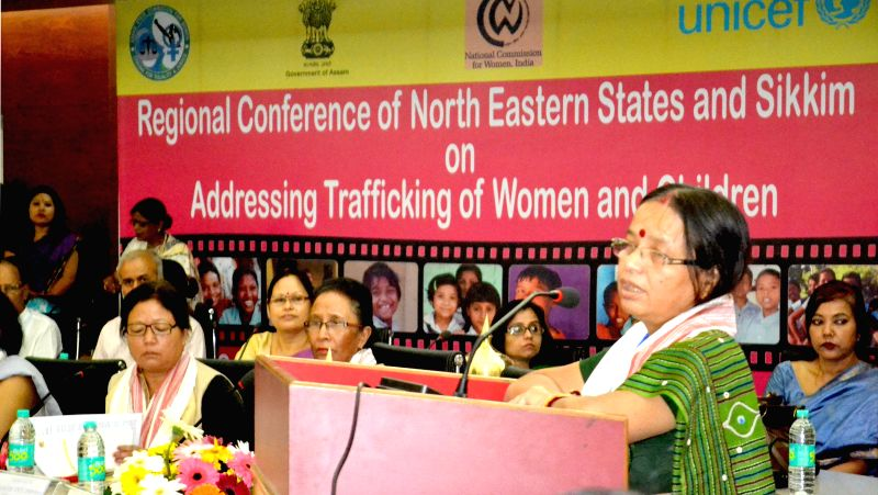 Tripura State Commission for Women Chairperson Purnima Roy addresses during the inaugural session of the Regional conference of Northeastern States and Sikkim on addressing Trafficking of Women and ..