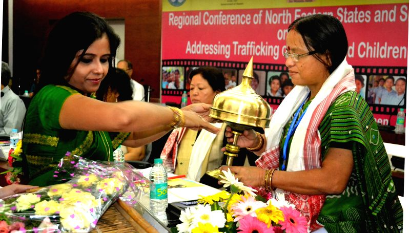 Tripura State Commission for Women Chairperson Purnima Roy being felicitated during the inaugural session of the Regional conference of Northeastern States and Sikkim on addressing Trafficking of ...