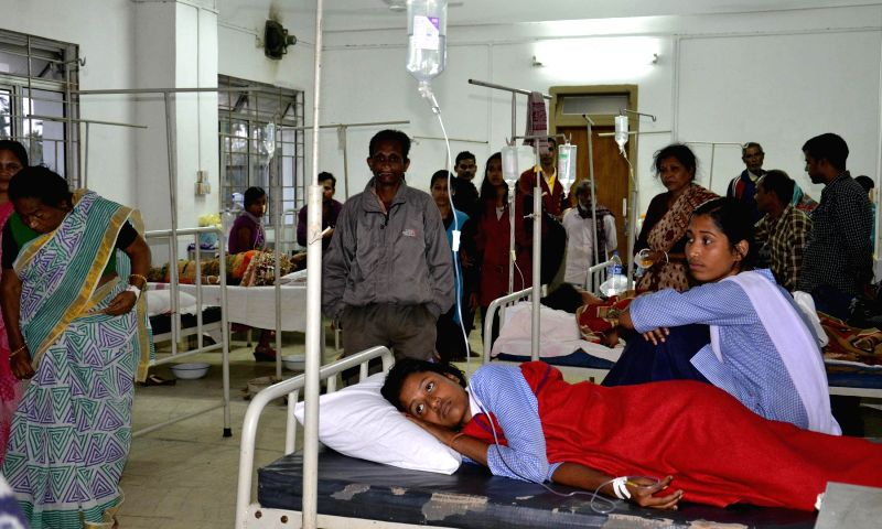 The students who fell ill after being administered intestinal worm medicine - anthelmintics - by the Union  Health Ministry being treated at a North Tripura hospital on Feb 11, 2015.