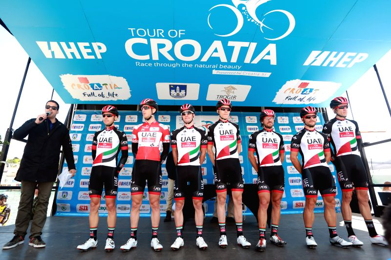 TROGIR, April 20, 2017 - Cyclists from UAE Team Emirates pose for pictures at the second stage of the international cycling race tour of Croatia 2017 in Trogir, south Croatia, April 19, 2017. The ...