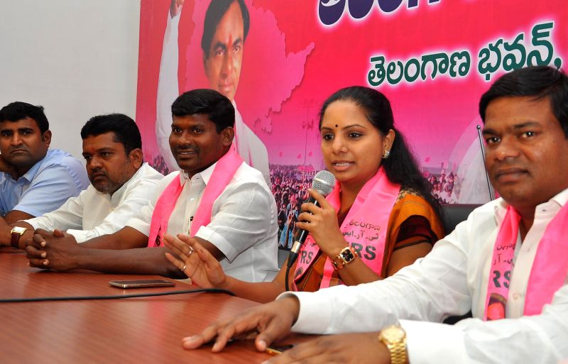 TRS leader and Nizamabad (Telangana) MP Kalvakuntla Kavitha addresses a press conference in Hyderabad on Aug 28, 2014.