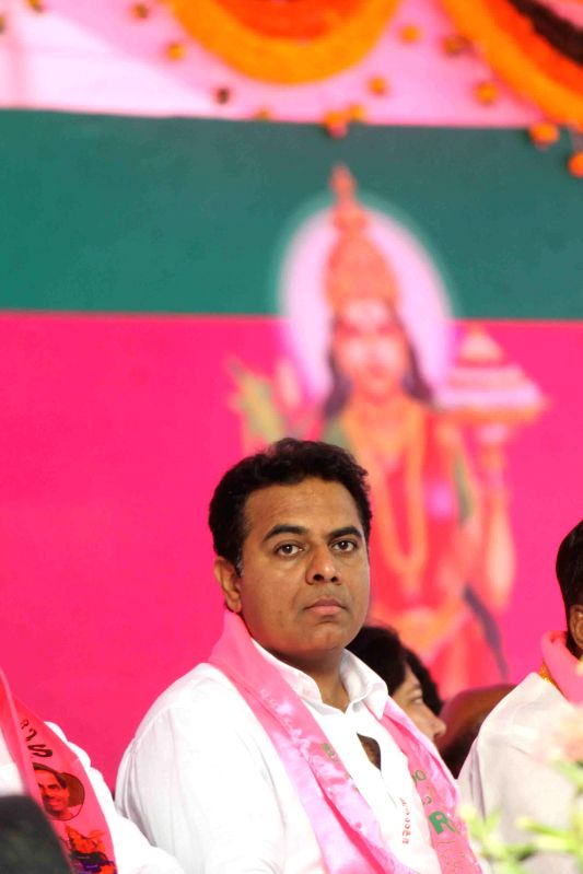 TRS leader and the IT and Panchayat Raj Minister K. T. Rama Rao at TRS plenary in Hyderabad, on April 24, 2015. - K. T. Rama Rao