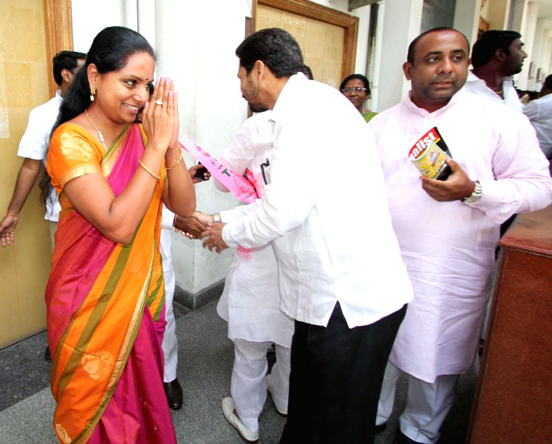 TRS leader K. Kavitha after winning Nizamabad parliamentary constituency in Hyderabad on May 17, 2014.
