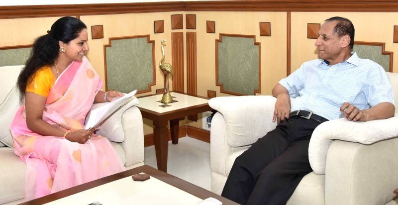 TRS MP K. Kavitha calls on Andhra Pradesh and Telangana Governor E. S. L. Narasimhan, in Hyderabad, on July 30, 2018.