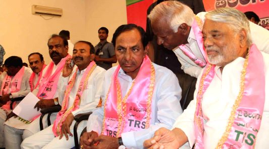 TRS president K Chandersheker Rao addressing TRS candidates for assembly and Lok Sabha at Telangana Bhavan in Hyderabad on April 12, 2014.