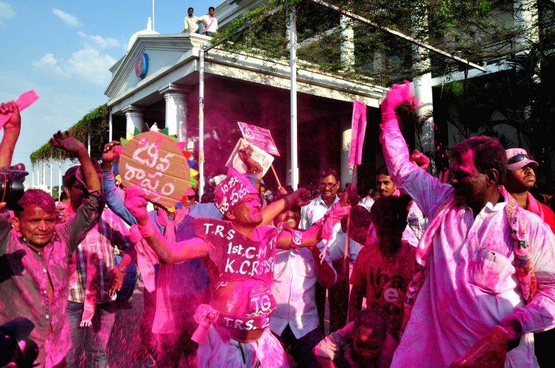 TRS workers celebrate party's performance in 2014 Lok sabha Elections in Hyderabad on May 16, 2014.