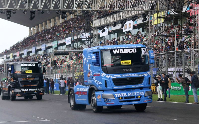 Trucks at the Buddh International Circuit during the Season II of the T1 PRIMA Truck Racing Championship 2015 in Greater Noida on March 14, 2015.
