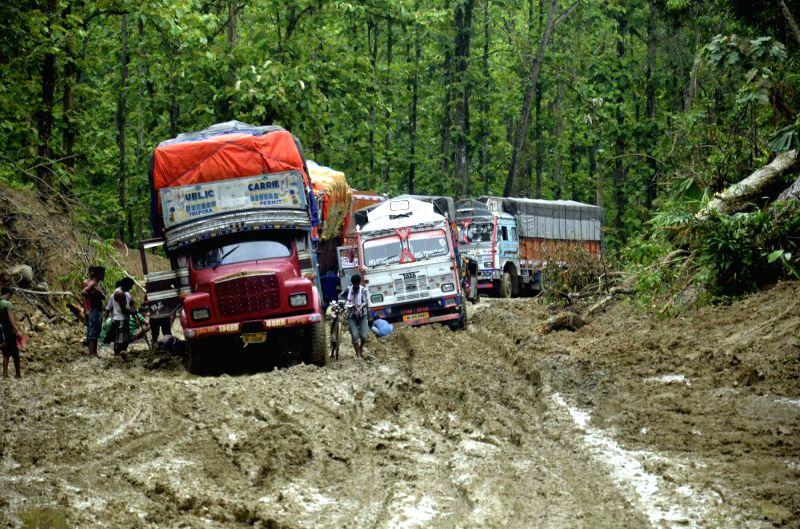 Trucks stranded on National Highway 44 in Lowerpua of Assam on May 31, 2016.