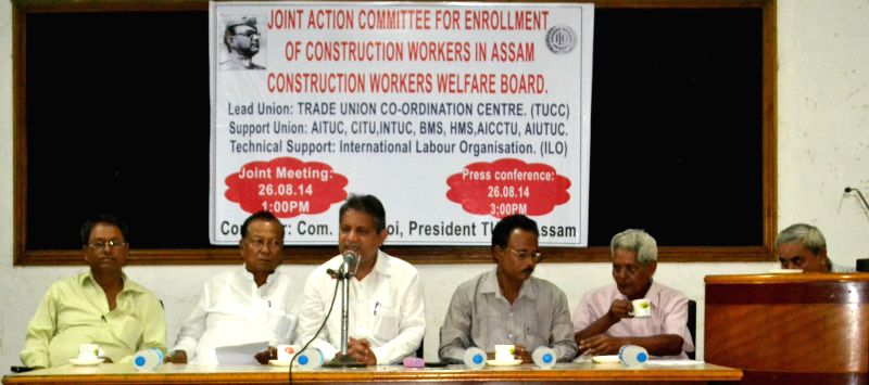 TUCC General Secretary SP Tiwari addresses press after the Joint Campaign Committee meeting of Construction Workers organised by Trade Union Co-ordination Centre with the support of International ...