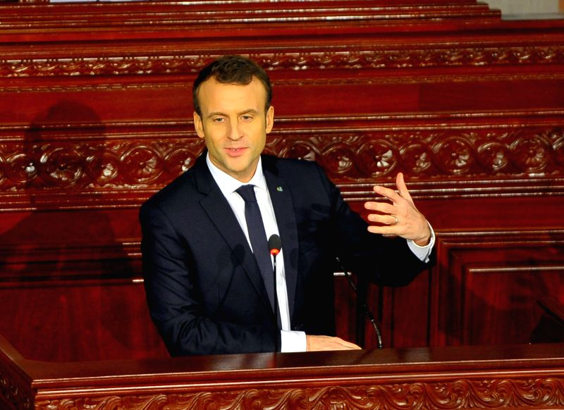 TUNIS, Feb. 2, 2018 - French President Emmanuel Macron delivers a speech at the Tunisian Assembly of People's Representatives, or the parliament, in Tunis, capital of Tunisia, Feb. 1, 2018. Visiting ...