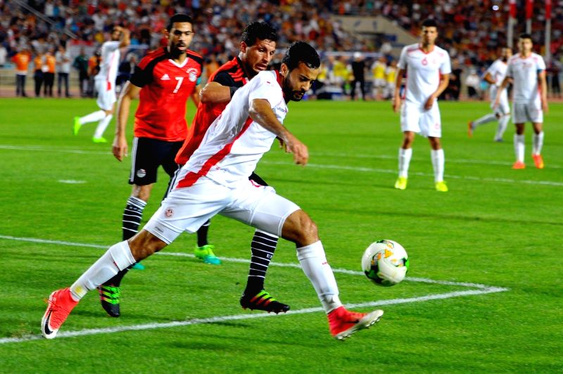 TUNIS, June 11, 2017 - Players compete during the 2019 African Nations Cup qualification match between Tunisia and Egypt in Tunis, capital of Tunisia, on June 11, 2017.