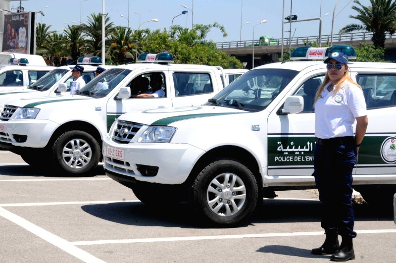 TUNIS, June 14, 2017 - An environmental police stands next to the vehicle during the launching ceremony in Tunis, Tunisia, on June 13, 2017. Tunisian Prime Minister Youssef Chahed on Tuesday launched ... - Youssef Chahed