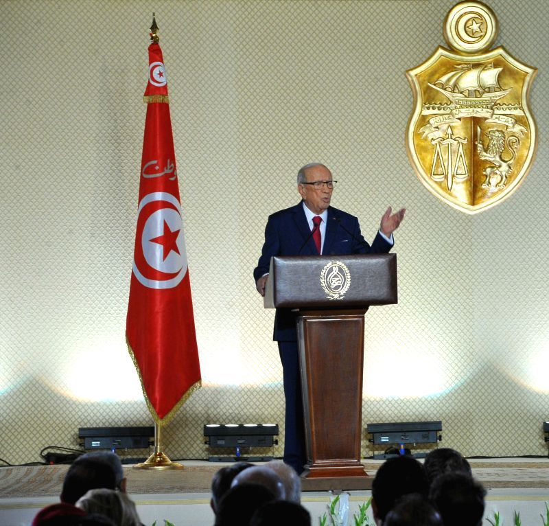 TUNIS, May 10, 2017 - Tunisian President Beji Caid Essebsi delivers a speech in Tunis, capital of Tunisia, on May 10, 2017. The Tunisian armed forces will protect sources of national wealth, ...
