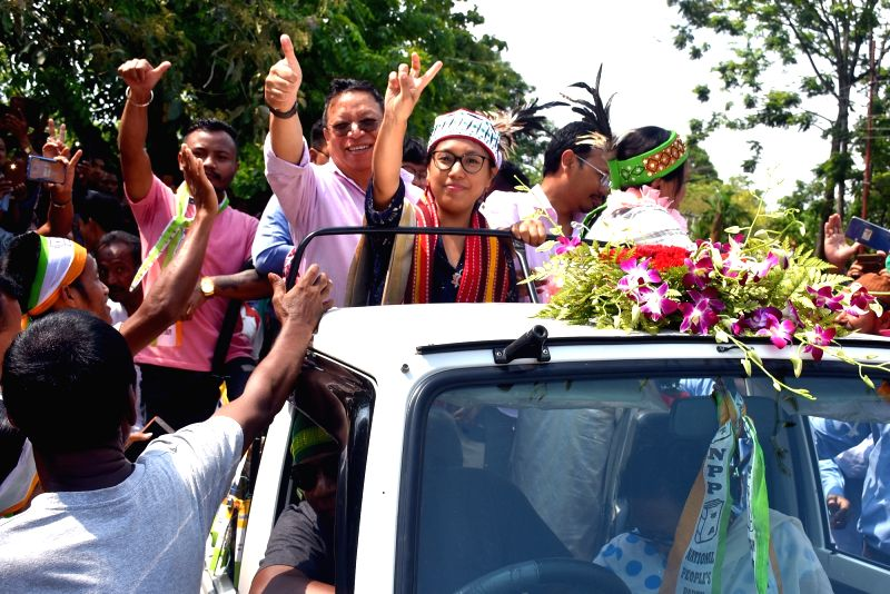 Tura: National People's Party Tura seat candidate Agatha K Sangma celebrates with party workers after emerging victorious from the seat in the 2019 Lok Sabha elections, in Tura, Meghalaya on May 23, 2019.