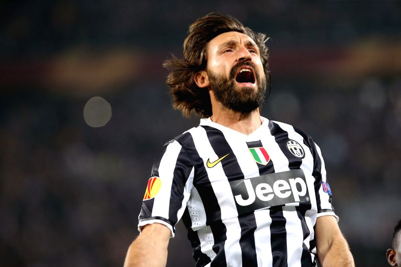 Andrea Pirlo of Juventus celebrates for a goal during the quarter-final match against Olympique Lyon at the Europa League in Turin, Italy, on April 10, 2014. ...