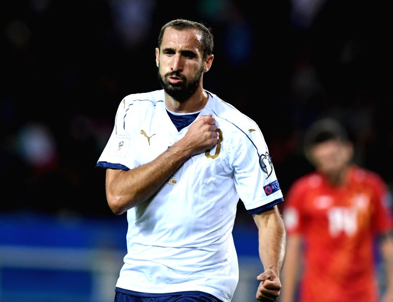 TURIN, Oct. 7, 2017 - Giorgio Chiellini of Italy celebrates scoring during the FIFA 2018 World Cup Qualifier match between Italy and Macedonia in Turin, Italy, on Oct. 6, 2017. The game ended with a ...