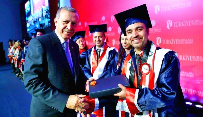 Turkish President Recep Tayyip Erdogan felicitates foreign students studying in different universities of Turkey.