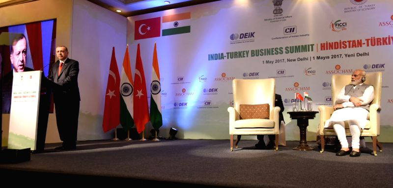 Turkish President Recep Tayyip Erdogan addresses at India-Turkey Business Summit, in New Delhi on May 1, 2017.