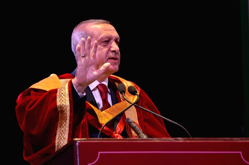 Turkish President Recep Tayyip Erdogan addresses during convocation ceremony of Jamia Millia Islamia where he was conferred Degree of Doctor of Letters (Honoris Causa) in New Delhi, on May ...