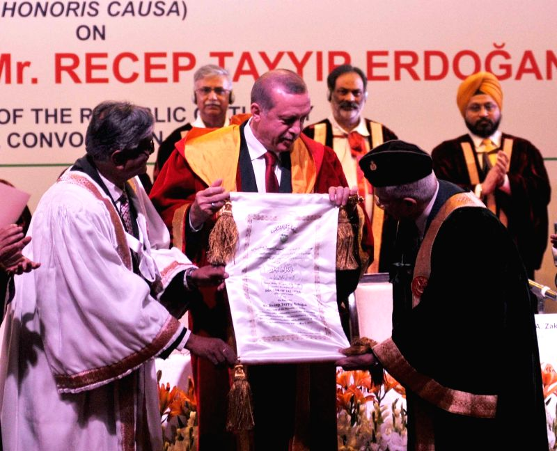 Turkish President Recep Tayyip Erdogan being conferred Degree of Doctor of Letters (Honoris Causa) by Jamia Millia Islamia Chancellor Lt. Gen. (Retd.) M. A. Zaki in New Delhi, on May 1, ...