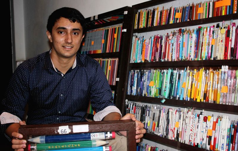 Tushar Lakhanpal, with his pencil collection at India International Centre in New Delhi, on Oct 14, 2015.The 17 year-old, who has a collection of more than 18,000 pencils, one of the ...