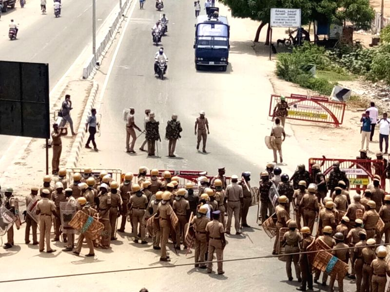 Tuticorin: Police personnel deployed during a demonstration to press for the closure of  Vedanta's Sterlite copper smelter in Tamil Nadu's Thoothukudi district; in Tuticorin on May 22, 2018. (Photo: IANS)