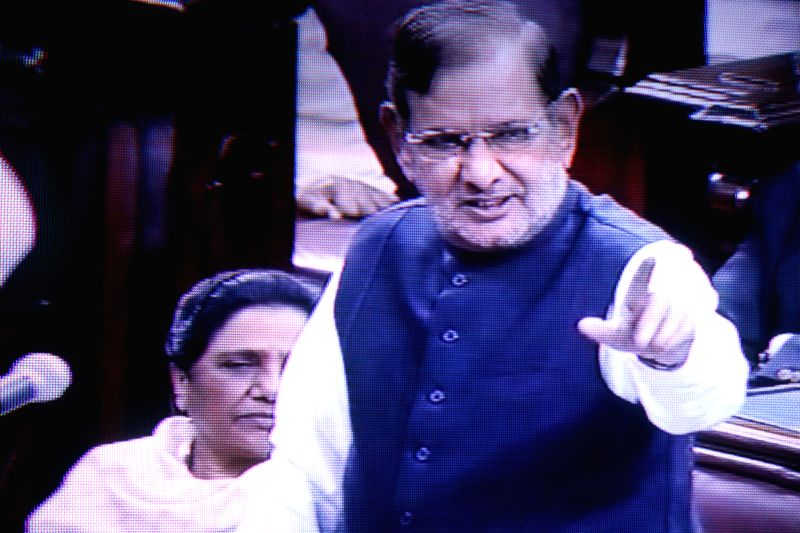 TV GRAB: JD (U) chief Sharad Yadav addresses at the Rajya Sabha in New Delhi on Dec 4, 2014. - Sharad Yadav
