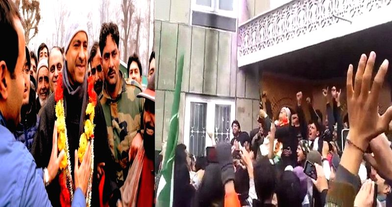 (TV GRAB) Sonawar: PDP MLA from Sonawar, Mohammad Ashraf Mir, who defeated Omar Abdullah in the recently concluded Jammu and Kashmir Assembly polls, is seen (in a video footage) brandishing an AK-47 .
