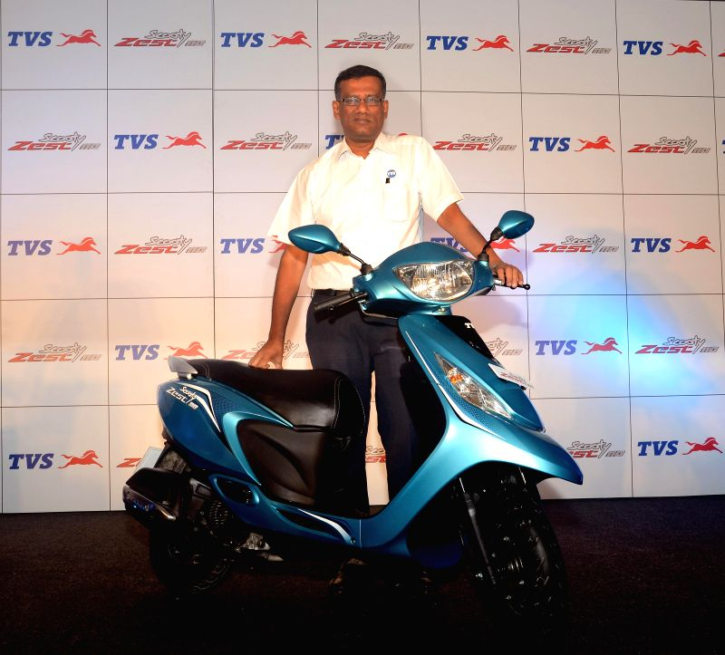 TVS Motor Vice President Sales J S Srinivasan at the launch of `Zest`in New Delhi on Aug 26, 2014.