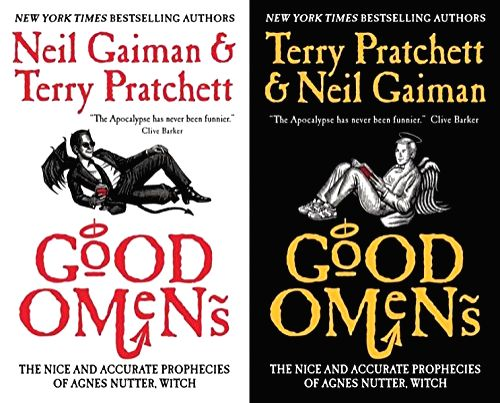 Two editions of Terry Pratchett and Neil Gaiman\'s co-authored comic novel of the Apocalypse, featuring either of the key supernatural protagonists