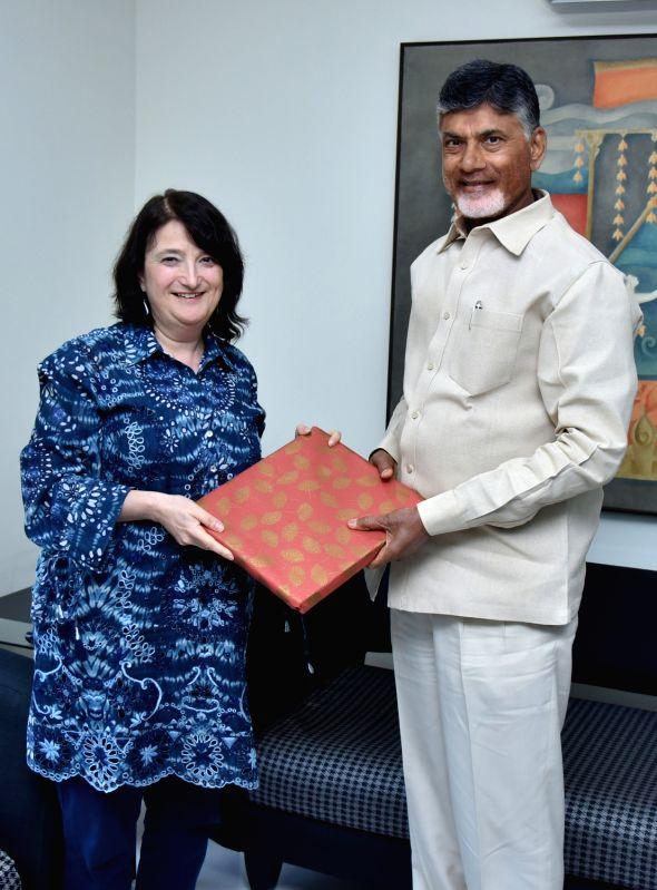 U.S. Consul General Katherine B. Hadda meets Andhra Pradesh Chief Minister N. Chandrababu Naidu at his residence, in Vijayawada on June 9, 2018. - N. Chandrababu Naidu