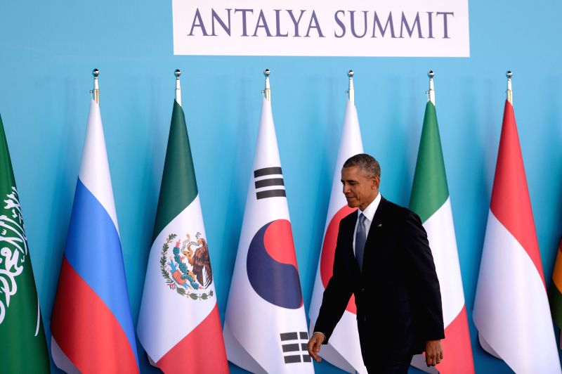 U.S. President Barack Obama arrives at the welcoming ceremony of G20 Summit held in Antalya, Turkey, on Nov. 15, 2015. The two-day summit kicked off on Sunday. ...